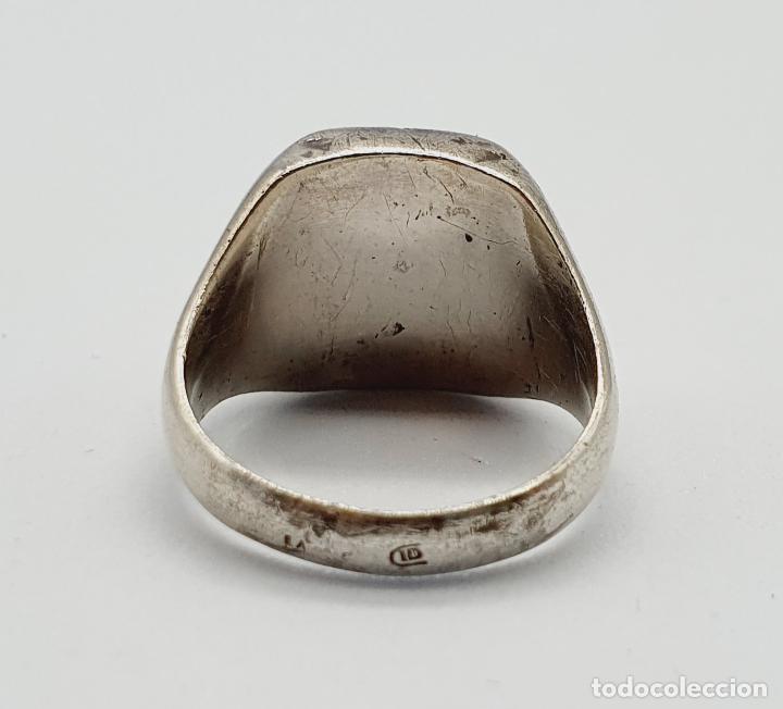 Joyeria: Anillo antiguo tipo sello modernista en plata de ley maciza con iniciales cinceladas a mano . - Foto 6 - 222917558