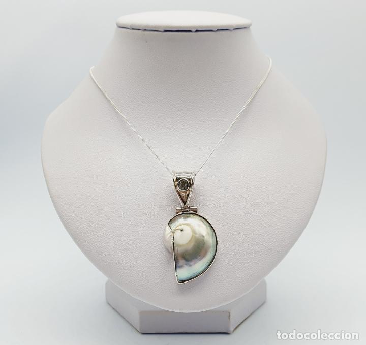 Joyeria: Precioso colgante antiguo en plata de ley con concha natural y aguamarina talla diamante incrustada - Foto 5 - 223642943