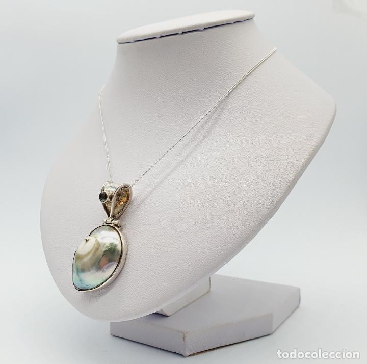 Joyeria: Precioso colgante antiguo en plata de ley con concha natural y aguamarina talla diamante incrustada - Foto 6 - 223642943