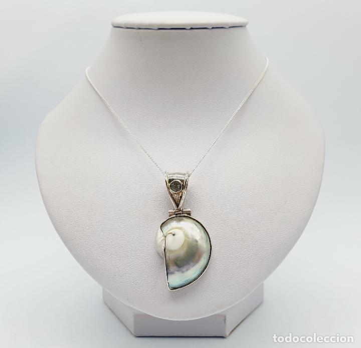 Joyeria: Precioso colgante antiguo en plata de ley con concha natural y aguamarina talla diamante incrustada - Foto 7 - 223642943