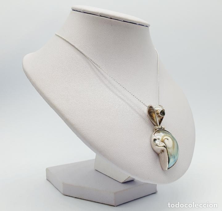 Joyeria: Precioso colgante antiguo en plata de ley con concha natural y aguamarina talla diamante incrustada - Foto 8 - 223642943
