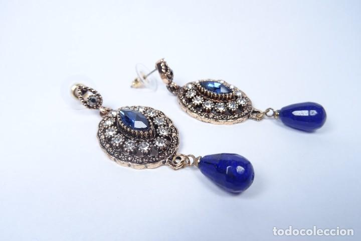 Joyeria: Pendientes en oro viejo estilo Isabelino con piedras preciosas talladas - Foto 2 - 224571278