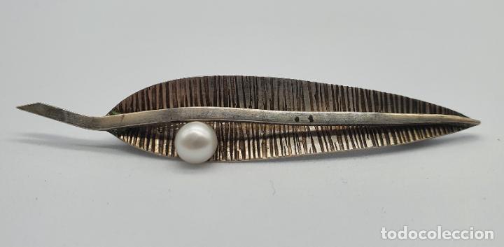 Joyeria: Elegante broche antiguo art decó en plata de ley contrastada con forma de hoja y perla natural . - Foto 4 - 224611251