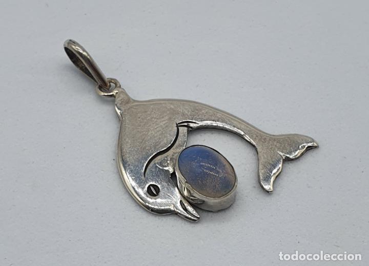 Joyeria: Colgante vintage de delfín en plata de ley contrastada y cabujón de ópalo de mar natural . - Foto 4 - 224620690