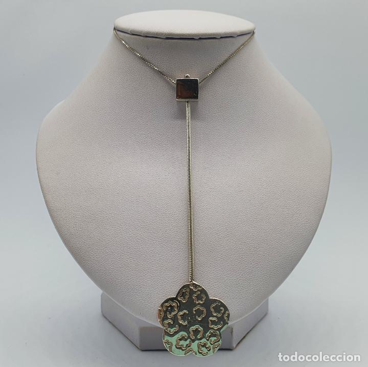 Joyeria: Gargantilla vintage en plata de ley contrastada diseño corbata con medallón de flor . - Foto 3 - 224627698
