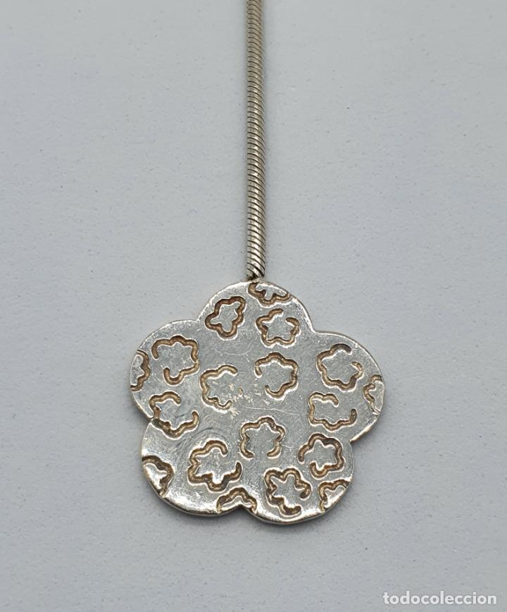 Joyeria: Gargantilla vintage en plata de ley contrastada diseño corbata con medallón de flor . - Foto 6 - 224627698