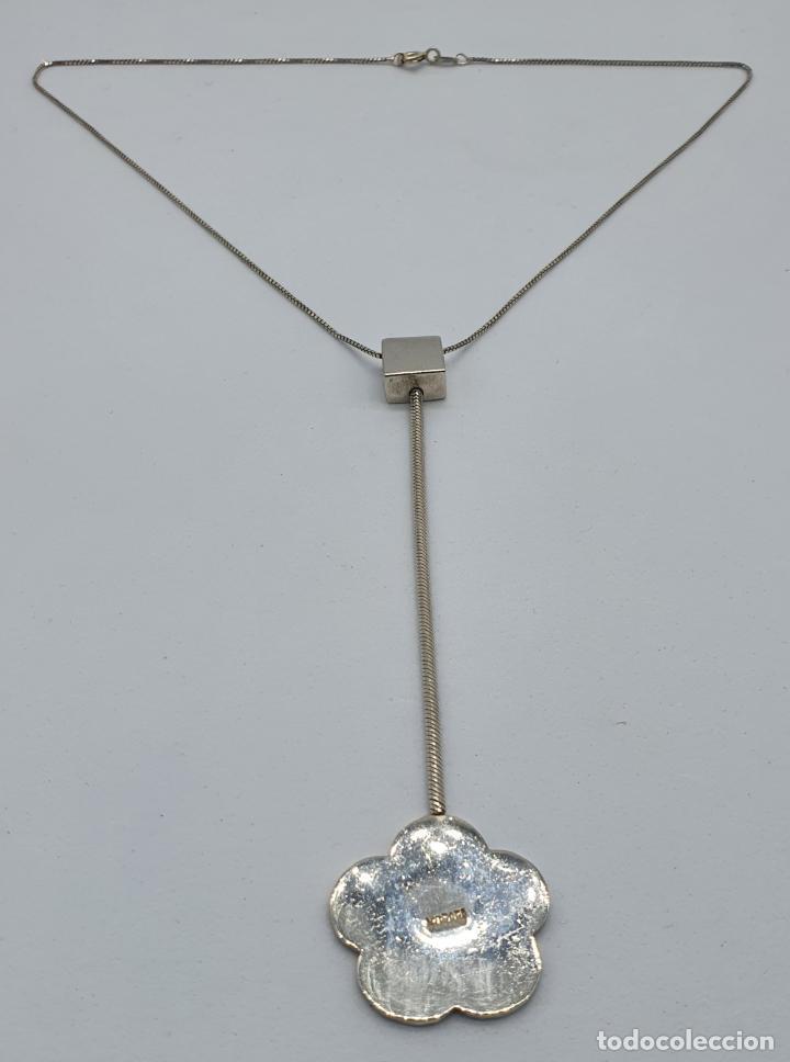 Joyeria: Gargantilla vintage en plata de ley contrastada diseño corbata con medallón de flor . - Foto 7 - 224627698