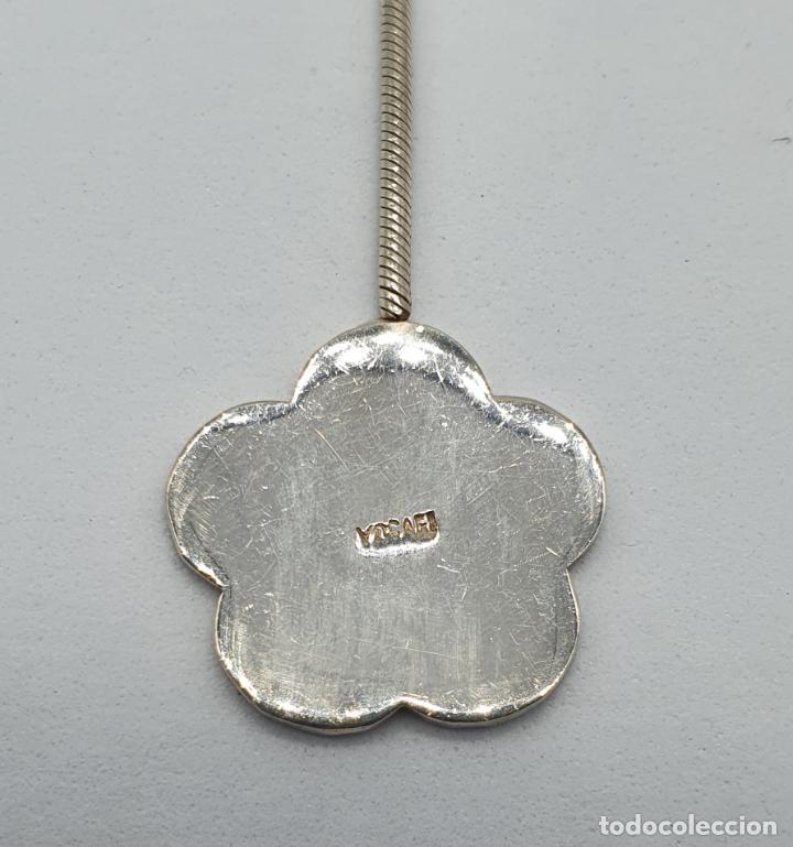 Joyeria: Gargantilla vintage en plata de ley contrastada diseño corbata con medallón de flor . - Foto 8 - 224627698