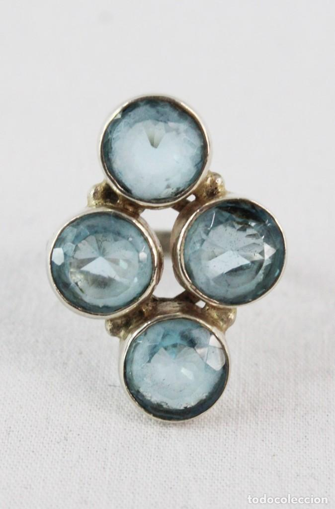 Joyeria: Anillo lanzadera. Plata y 4 aguamarinas. A navette silver ring 4 aquamarines. Talla size 17 - Foto 5 - 224887102