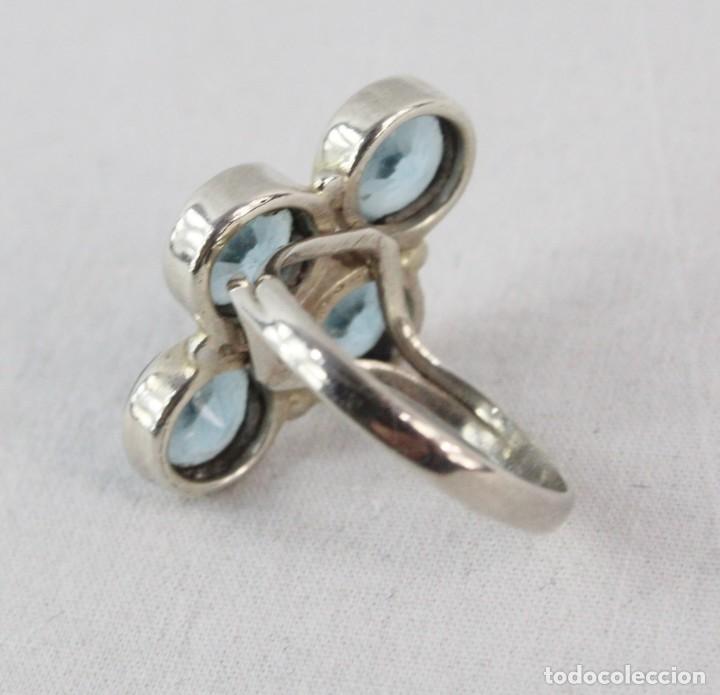 Joyeria: Anillo lanzadera. Plata y 4 aguamarinas. A navette silver ring 4 aquamarines. Talla size 17 - Foto 3 - 224887102