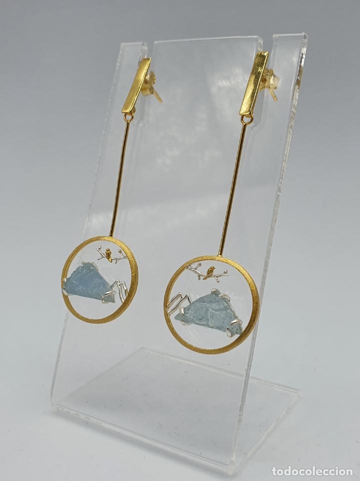 Joyeria: Magníficos pendientes de diseño zen con aves en plata de ley, oro de 18k y aguamarinas naturales . - Foto 2 - 237654230