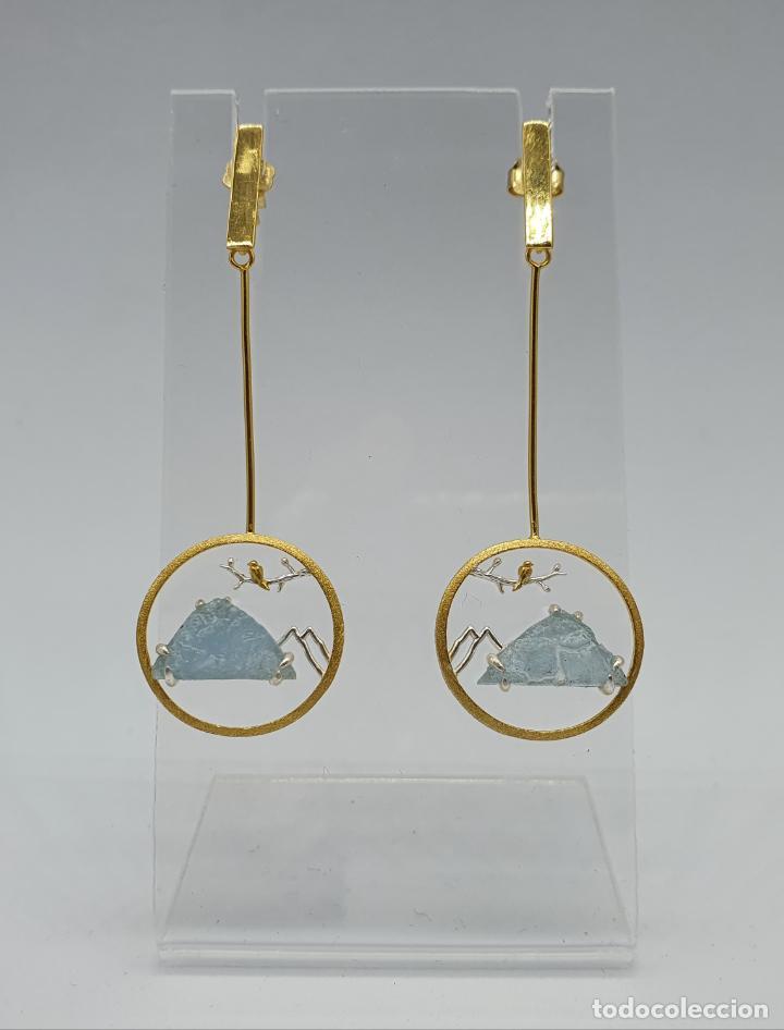 Joyeria: Magníficos pendientes de diseño zen con aves en plata de ley, oro de 18k y aguamarinas naturales . - Foto 3 - 237654230