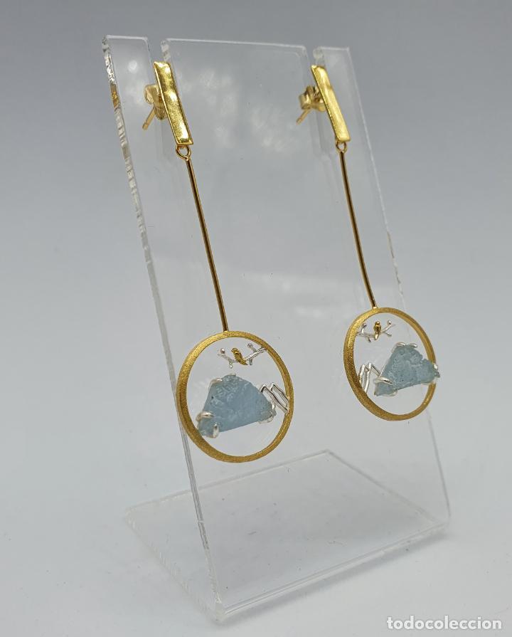 Joyeria: Magníficos pendientes de diseño zen con aves en plata de ley, oro de 18k y aguamarinas naturales . - Foto 4 - 237654230