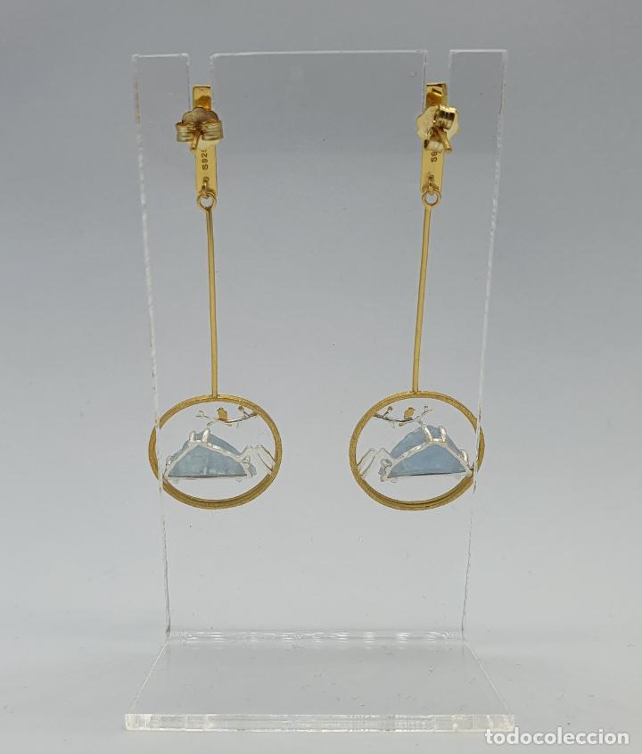 Joyeria: Magníficos pendientes de diseño zen con aves en plata de ley, oro de 18k y aguamarinas naturales . - Foto 5 - 237654230