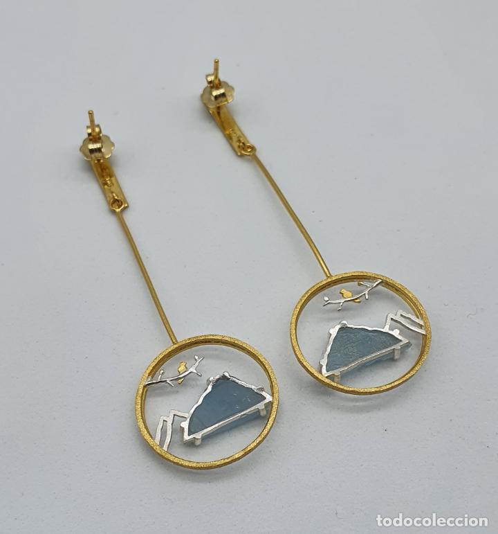 Joyeria: Magníficos pendientes de diseño zen con aves en plata de ley, oro de 18k y aguamarinas naturales . - Foto 7 - 237654230