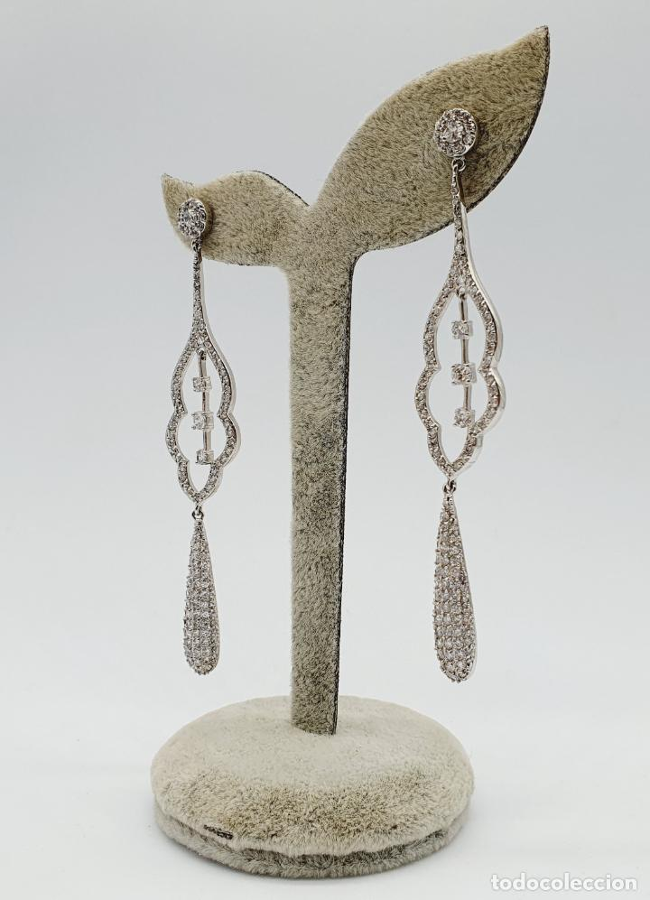 Joyeria: Espectaculares pendientes de lujo vintage en plata de ley y pavé de circonitas talla brillante . - Foto 2 - 225876895