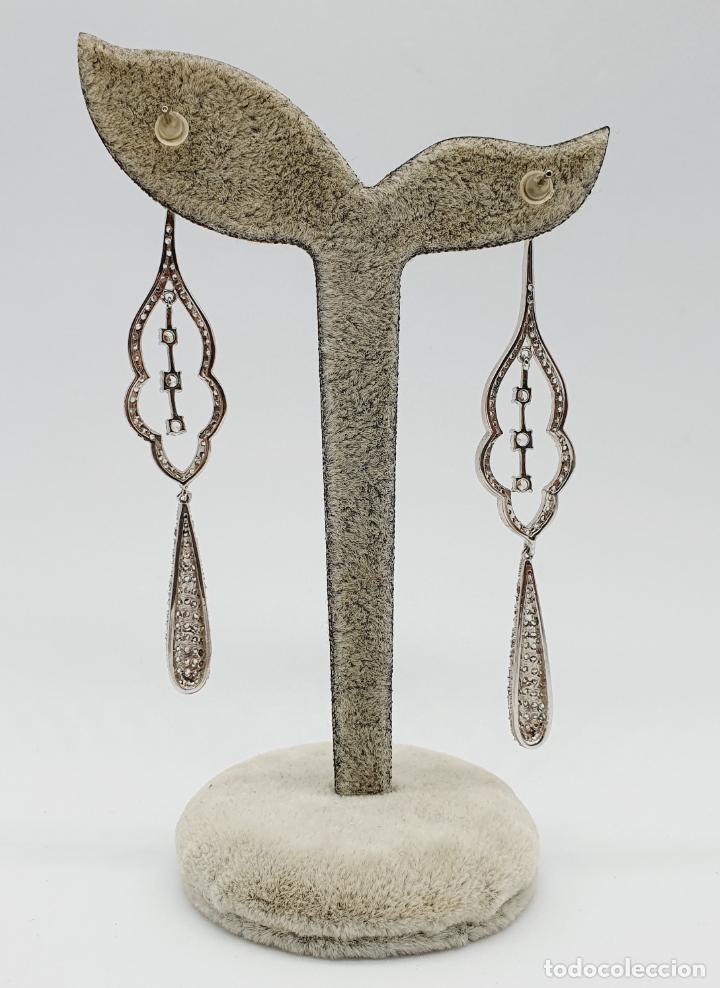 Joyeria: Espectaculares pendientes de lujo vintage en plata de ley y pavé de circonitas talla brillante . - Foto 3 - 225876895