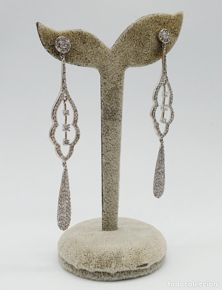 Joyeria: Espectaculares pendientes de lujo vintage en plata de ley y pavé de circonitas talla brillante . - Foto 4 - 225876895