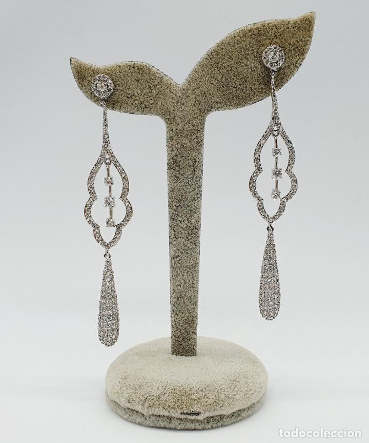 Joyeria: Espectaculares pendientes de lujo vintage en plata de ley y pavé de circonitas talla brillante . - Foto 5 - 225876895