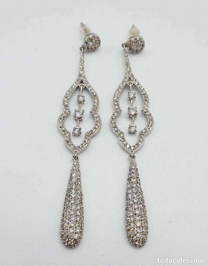 Joyeria: Espectaculares pendientes de lujo vintage en plata de ley y pavé de circonitas talla brillante . - Foto 6 - 225876895