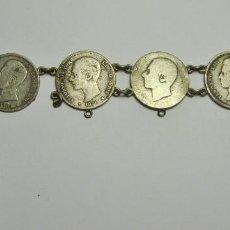 Joyeria: ANTIGUA PULSERA O BRAZALETE DE PLATA. HECHA CON MONEDAS DE ALFONSO XII Y XIII.. Lote 226365370