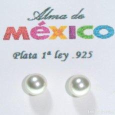 Joyeria: PENDIENTES DE PLATA DE 1RA LEY .925 CON PERLA , DIAMETRO 7 MM, NUEVOS EN EMPAQUE. Lote 226968185