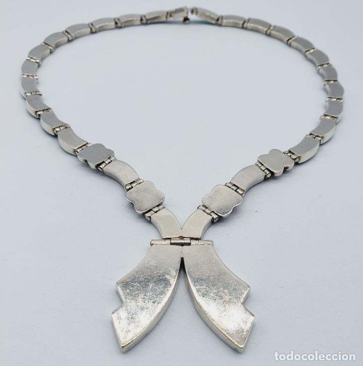 Joyeria: Magnífica gargantilla antigua art decó en eslabones de plata de ley 950 y malaquita auténtica . - Foto 7 - 227721375