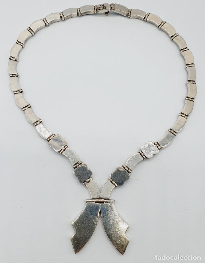 Joyeria: Magnífica gargantilla antigua art decó en eslabones de plata de ley 950 y malaquita auténtica . - Foto 9 - 227721375