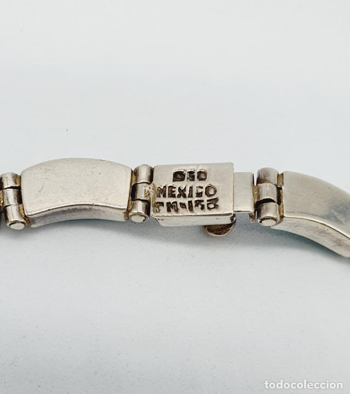 Joyeria: Magnífica gargantilla antigua art decó en eslabones de plata de ley 950 y malaquita auténtica . - Foto 10 - 227721375