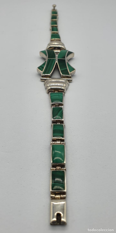 Joyeria: Magnífico brazalete antiguo art decó en eslabones de plata de ley 950 y malaquita auténtica . - Foto 2 - 227728075