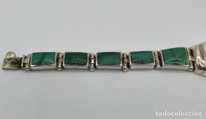 Joyeria: Magnífico brazalete antiguo art decó en eslabones de plata de ley 950 y malaquita auténtica . - Foto 3 - 227728075