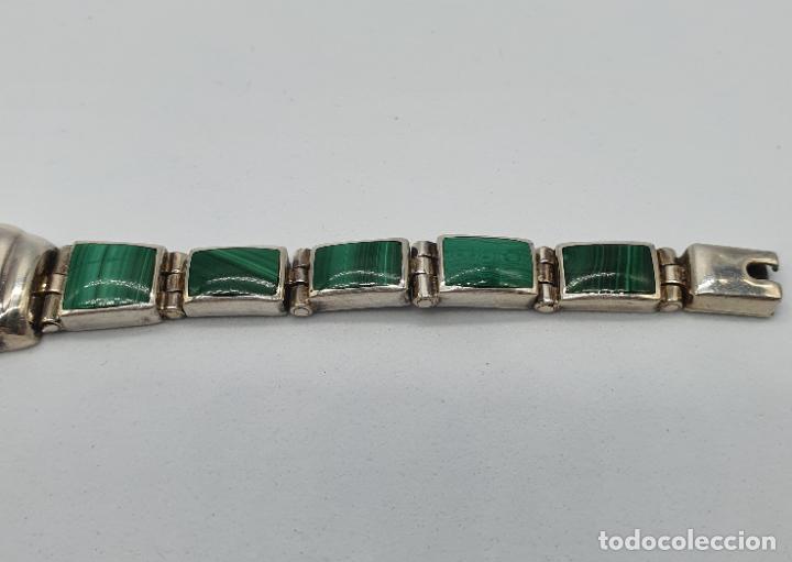 Joyeria: Magnífico brazalete antiguo art decó en eslabones de plata de ley 950 y malaquita auténtica . - Foto 5 - 227728075