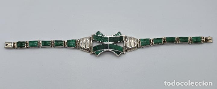 Joyeria: Magnífico brazalete antiguo art decó en eslabones de plata de ley 950 y malaquita auténtica . - Foto 6 - 227728075