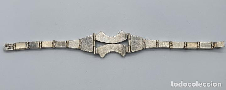 Joyeria: Magnífico brazalete antiguo art decó en eslabones de plata de ley 950 y malaquita auténtica . - Foto 7 - 227728075