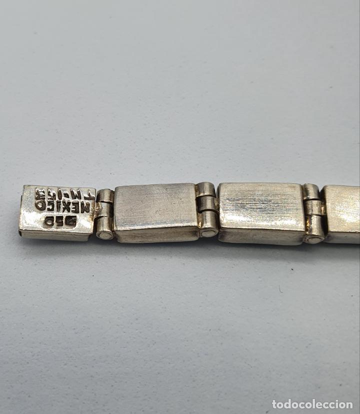 Joyeria: Magnífico brazalete antiguo art decó en eslabones de plata de ley 950 y malaquita auténtica . - Foto 8 - 227728075