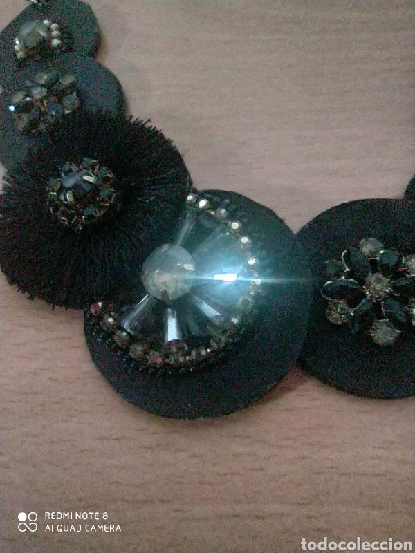 Joyeria: Maravilloso collar de piel sintética y cuero adornos metal dorado y cristal - Foto 2 - 228819655
