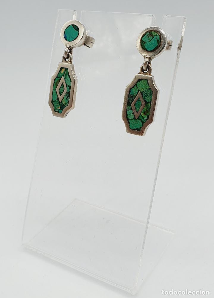 Joyeria: Bellos pendientes antiguos en plata de ley maciza y micromosaicos de piedra verde semipreciosa . - Foto 2 - 229423655