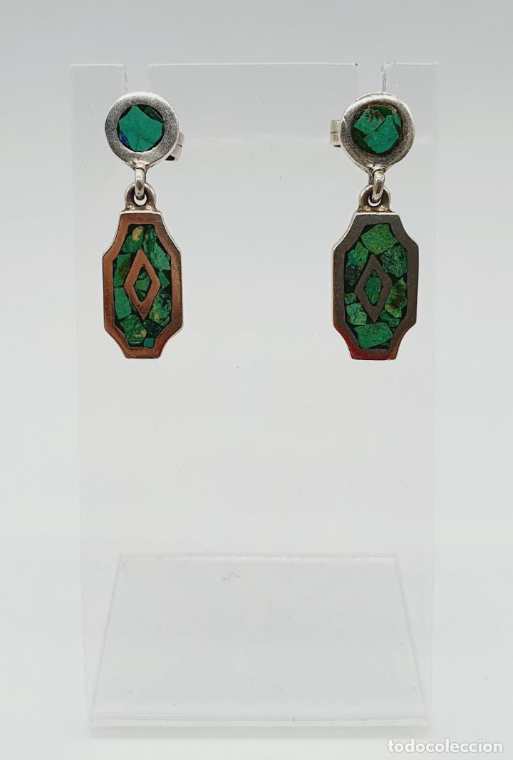 Joyeria: Bellos pendientes antiguos en plata de ley maciza y micromosaicos de piedra verde semipreciosa . - Foto 3 - 229423655
