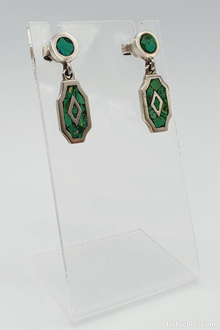 Joyeria: Bellos pendientes antiguos en plata de ley maciza y micromosaicos de piedra verde semipreciosa . - Foto 4 - 229423655