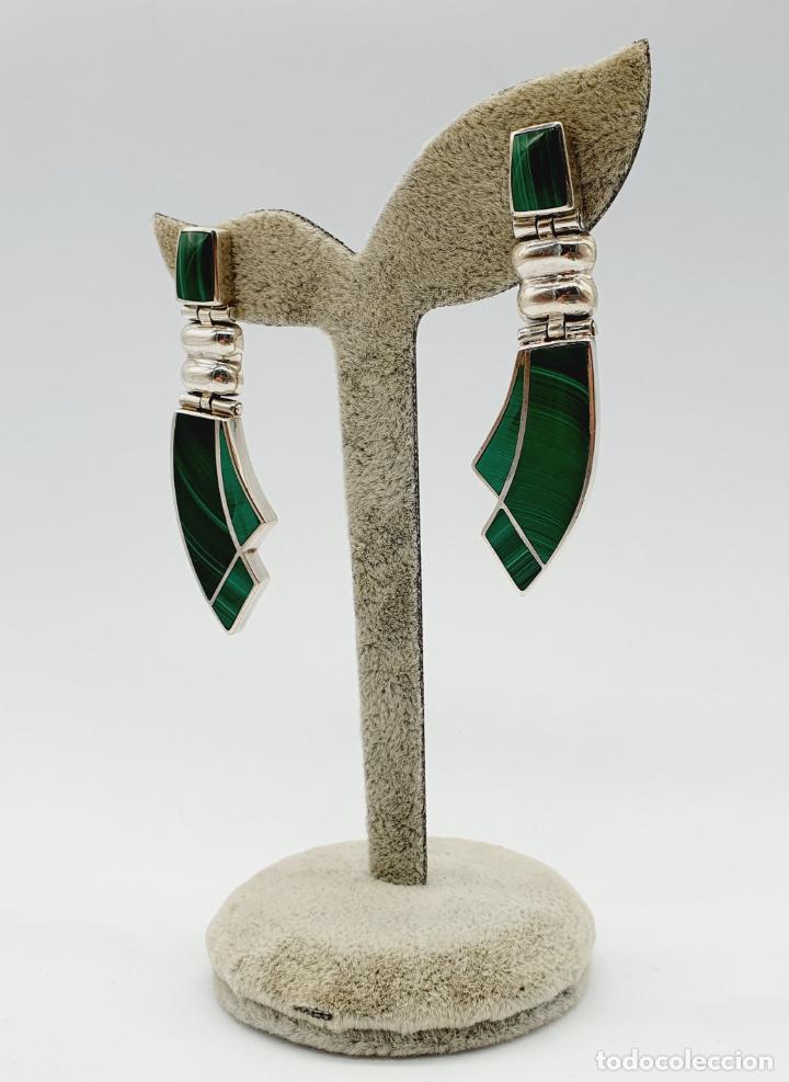 Joyeria: Magníficos pendientes antiguos art decó en plata de ley 950 y malaquita auténtica . - Foto 4 - 229435610