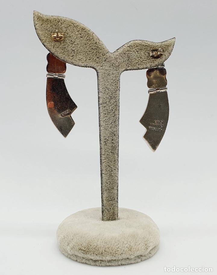 Joyeria: Magníficos pendientes antiguos art decó en plata de ley 950 y malaquita auténtica . - Foto 5 - 229435610