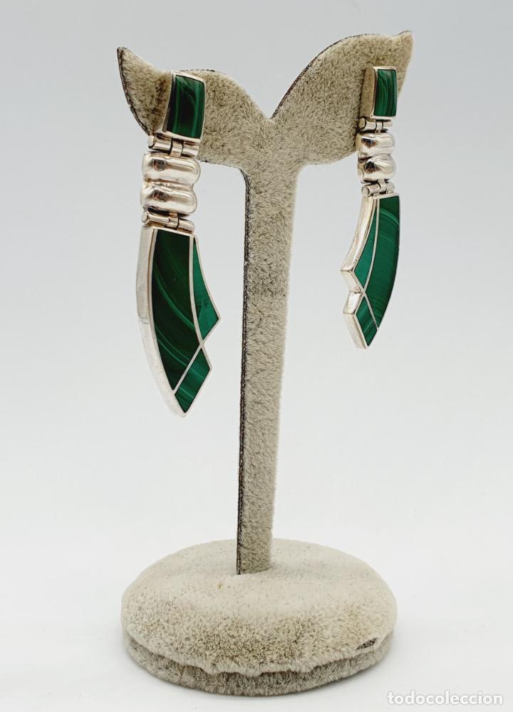 Joyeria: Magníficos pendientes antiguos art decó en plata de ley 950 y malaquita auténtica . - Foto 6 - 229435610