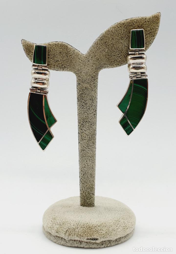 Joyeria: Magníficos pendientes antiguos art decó en plata de ley 950 y malaquita auténtica . - Foto 3 - 229435610