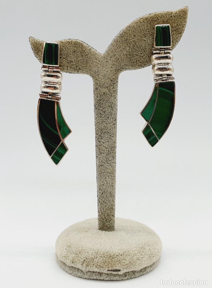 Joyeria: Magníficos pendientes antiguos art decó en plata de ley 950 y malaquita auténtica . - Foto 7 - 229435610