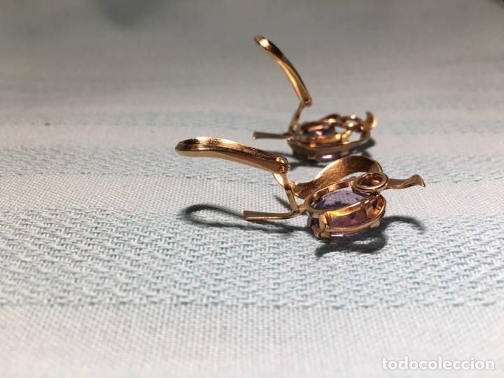 Joyeria: Antiguos pendientes de oro y amatistas. Antique golden earrings with amatists. - Foto 8 - 53108465