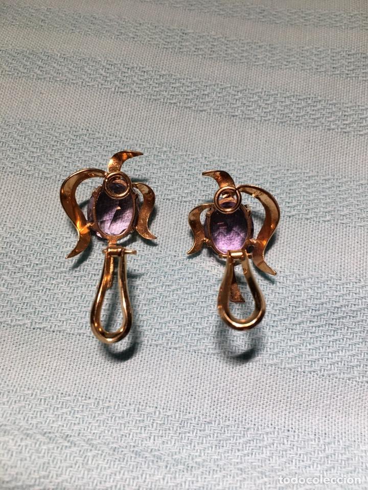 Joyeria: Antiguos pendientes de oro y amatistas. Antique golden earrings with amatists. - Foto 9 - 53108465