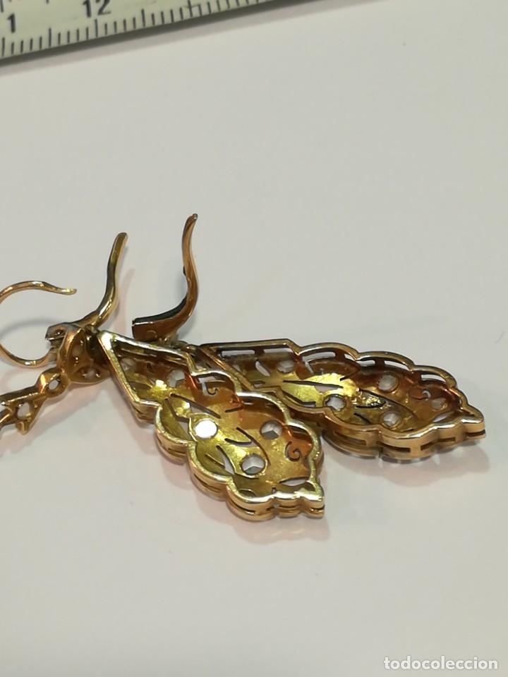 Joyeria: Pendientes de oro de 18k. Pendientes antiguos de oro. - Foto 2 - 234925280