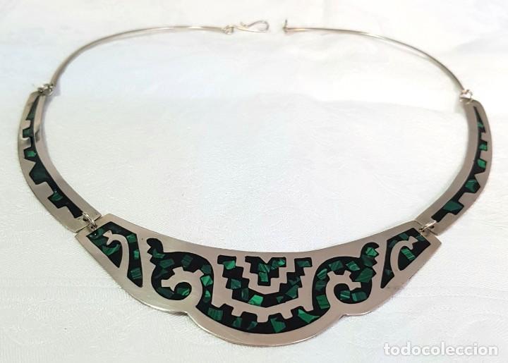 Joyeria: Gargantilla Collar De Piedras Verdes Malaquita Mexico - Foto 2 - 236270235