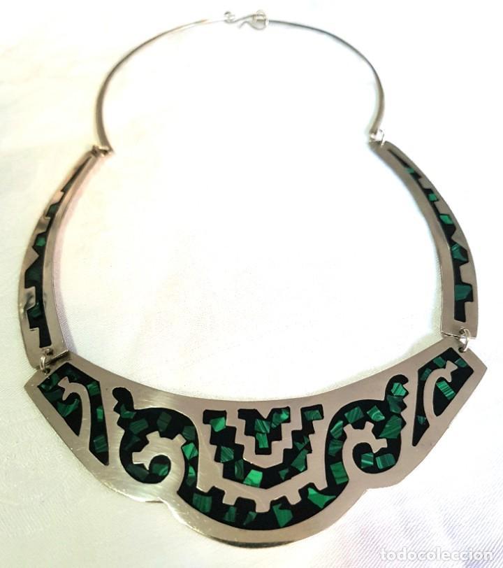 Joyeria: Gargantilla Collar De Piedras Verdes Malaquita Mexico - Foto 3 - 236270235