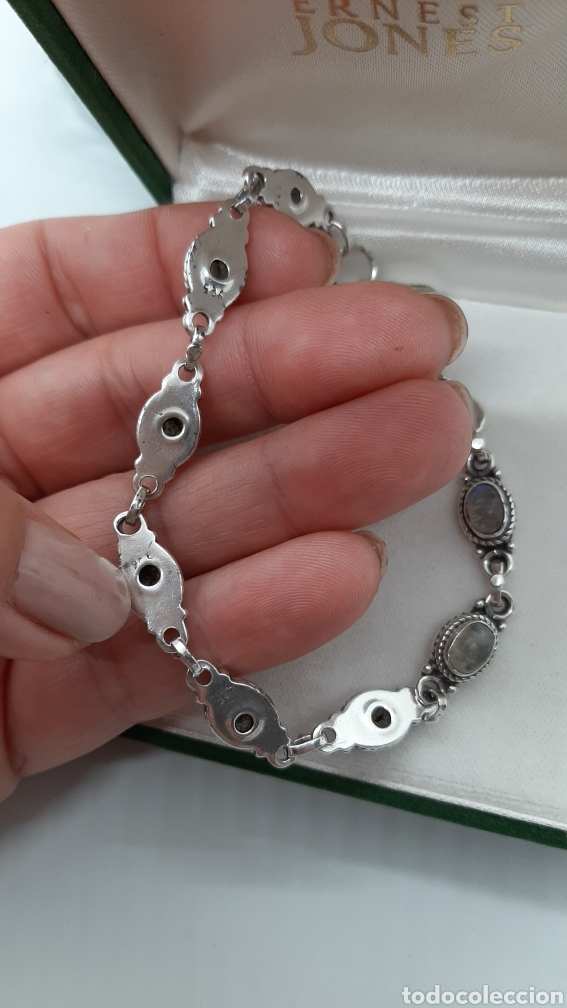 Joyeria: Pulsera vintage de plata 925 y piedra lunar, de 20 cm y 15.42 gr . Ver fotos y descripción. - Foto 2 - 236390425